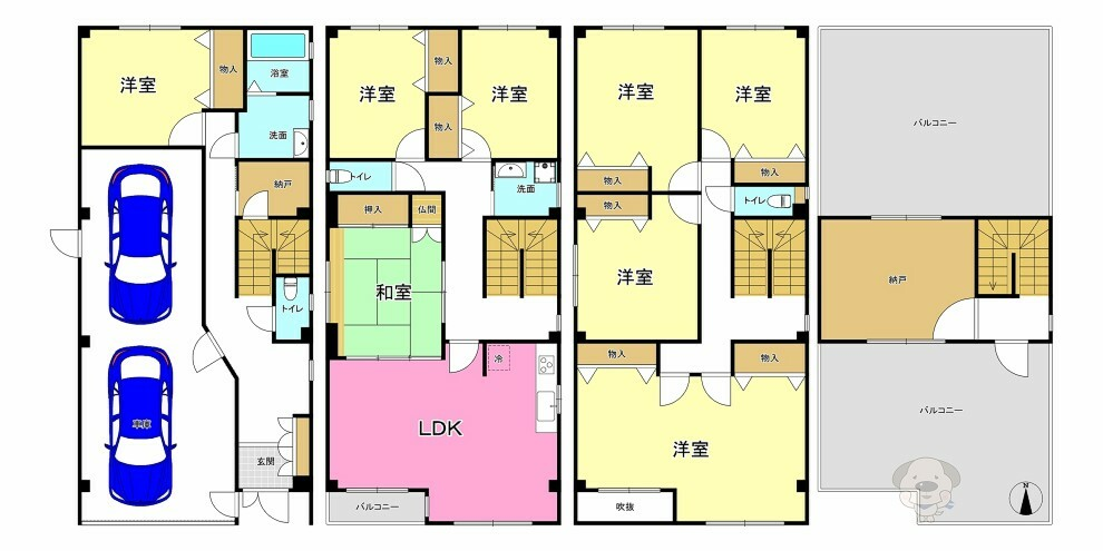 間取り図 ■とっても大きな275平米、8LDK+2Sのお家です! ■丈夫な鉄骨造で出来ています!平成8年築のお家なので万一の震災時にも安心ですね!
