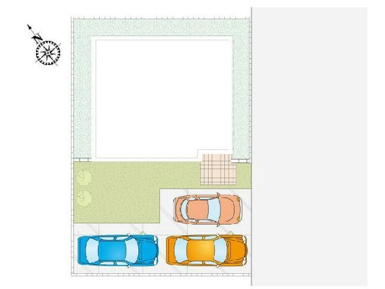 区画図 A号棟 区画図・・・12m幅の道路に面した整形地です。駐車3台可能です。