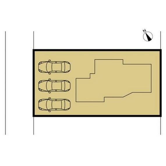 区画図 車庫を解体し、幅9.2m・奥行き5.4mのゆったりとした駐車場へと拡張致します。並列で3台止められるようになりました。
