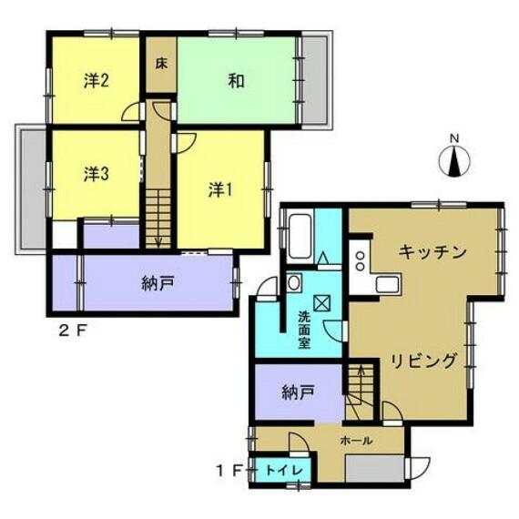 間取り図 リフォーム後の間取り図です。間取りは4LDKの二階建てです。若い方でも住みやすいように、リフォームして洋室を増やしています.