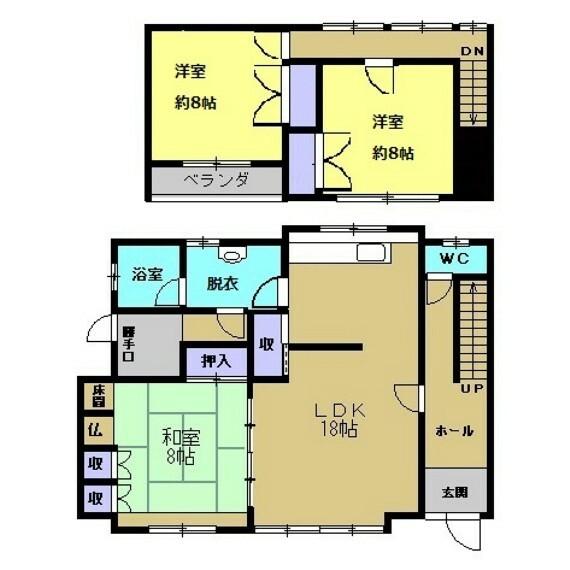 間取り図 【リフォーム後間取図】約18帖あるリビングダイニングがあり、1階に1部屋、2階に2部屋あります。全室収納付きで、3部屋ありますのでお子様の居るご家庭でもゆったり過ごせますよ。