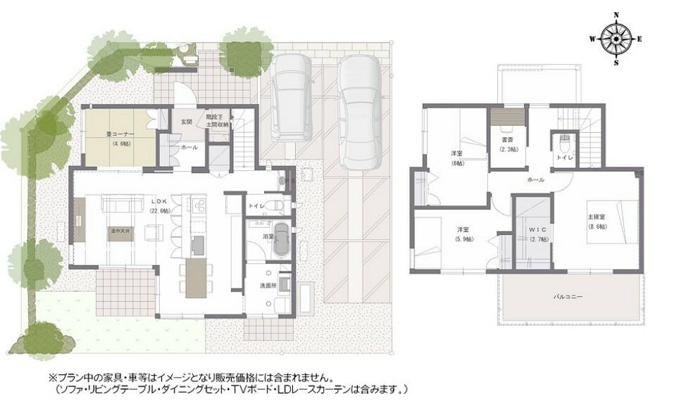 間取り図 間取り図:8-1号地 家族が集う、20帖以上の広々したLDK。ダイニングとつながる南に面した洗面所は室内干しスペースとしても活用可能で、共働きご夫婦にも人気があります。