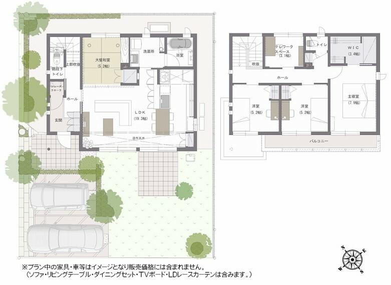 間取り図 間取り図:9-16号地 リビングを通らなくても2階に上がれる間取りです。LDKと和室は2.5mの開口でつなげる事ができ、リビングと畳コーナーがあわさり広々した空間を感じることができます。
