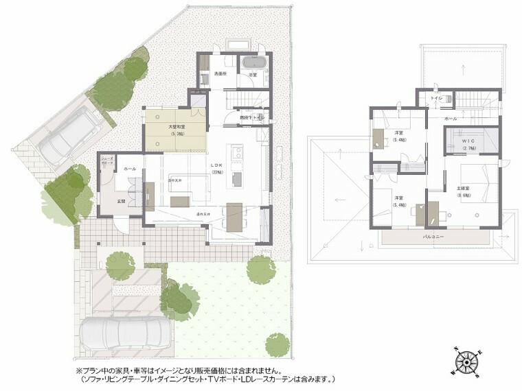 間取り図 間取り図:9-18号地 玄関、LDKが広いゆったりとした間取りです。変形地に合わせて建物の外形、窓の配置が考えられており、空間の広がりを感じる事ができます。