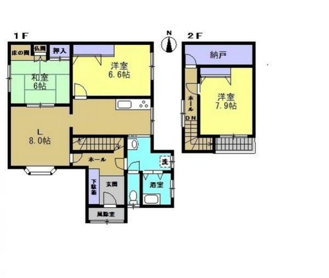 間取り図 【リフォーム後間取図】脱衣場の拡張を行いました。階段の架替えを行ったのでキッチン・脱衣場を通らず2階へ行けるようになりました。