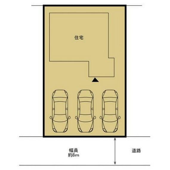 区画図 【区画図】駐車場は庭木・庭石を撤去し、3台駐車可能になりました。