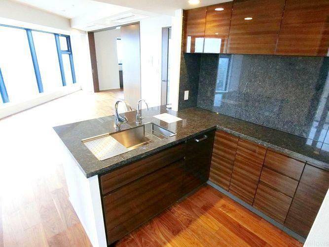 キッチン システムキッチンは黒を基調としたシンプルモダンなデザイン