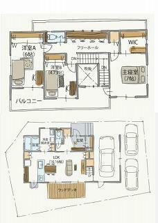 間取り図 1階 16.16帖LDK 2階 洋室A6帖 洋室B4.73帖 主寝室7帖