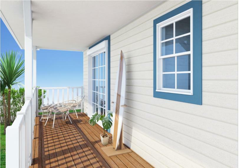 完成予想図(外観) カリフォルニアスタイルの家 カバードポーチいうめーじ