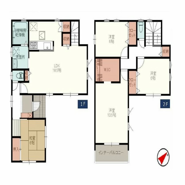 間取り図 全居室6帖以上 全居室に収納がある4LDK 水回りの集中した間取り カースペース2台可(車種による)