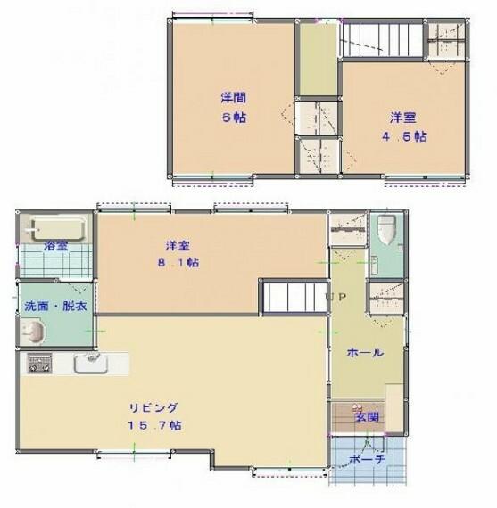 間取り図 【間取図】3LDKに間取変更しました。1階はリビングと洋室1室と水回り、2階は洋室2室です。