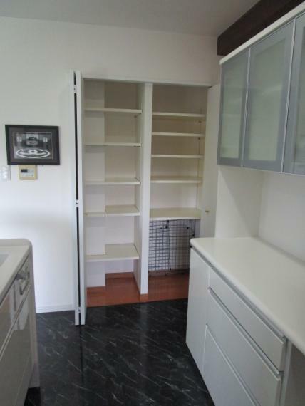 収納 奥様に嬉しいキッチンにカップボード・食品収納庫付!
