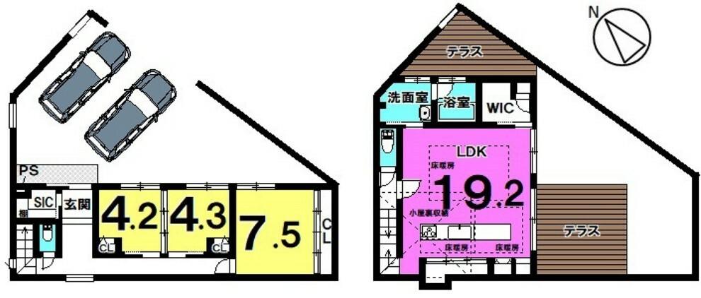 間取り図 【魅力的なプライベート空間】3LDK 北欧デザイン ガレージ2台分 ワークスペース・ロフト付リビング