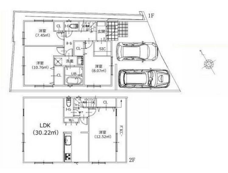 間取り図 B号棟 ■土地面積:134.16平米 ■建物面積:96.06平米
