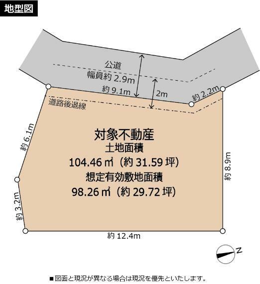 土地図面 地型図です。土地面積(登記簿)104.46平米はセットバック面積を含みます。