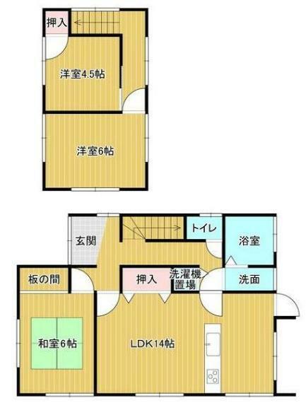 間取り図 全居室6帖以上! 各部屋広々とした間取りの4LDK。