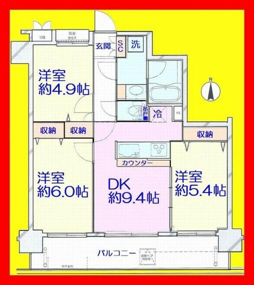 間取り図 柱の出っ張りが室内になく家具の配置もしやすいですね