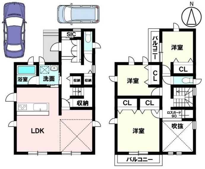 間取り図 土地面積 138.02平米 建物面積 101.75平米 3LDK 駐車場2台