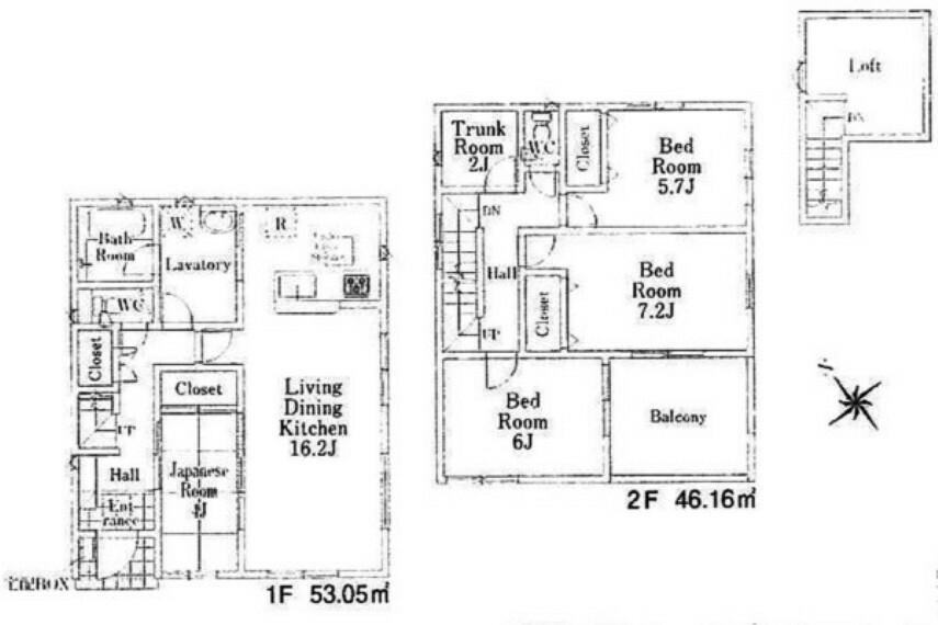 間取り図 4LDKに2畳の納戸、3階部分には小屋裏収納も備えた、収納たっぷりのお住まいです。 インナーバルコニーも魅力的なゆったりした作り。 ぜひ現地をご覧ください。