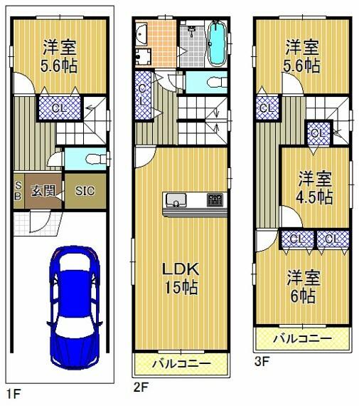 土地図面 新築参考プラン図:建物価格1580万円 建物面積:98.71平米