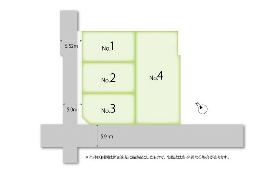 区画図 図面を基に描き起こしたもので実際とは異なります。植栽計画はイメージです。