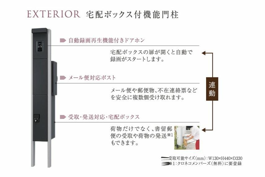 玄関 宅配ボックス付機能門柱  宅配ボックスの扉が開くと自動で録画がスタートします。 メール便や郵便物、不在連絡票などを安全に複数個受け取れます。
