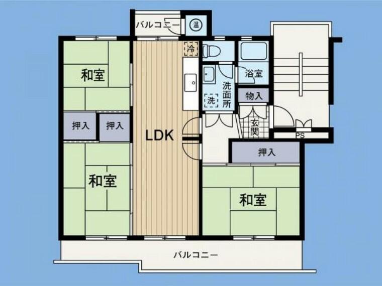 間取り図 間取り 専有面積67.68平米 3LDK 和室が3部屋あります