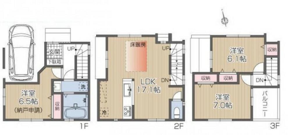 間取り図 3LDK+車庫