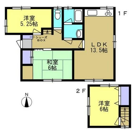 間取り図 昭和55年9月築 木造瓦葺2階建 建物面積74.68平米(22坪)3LDKです。水回りの交換を中心としたリフォームで生まれ変わりました。