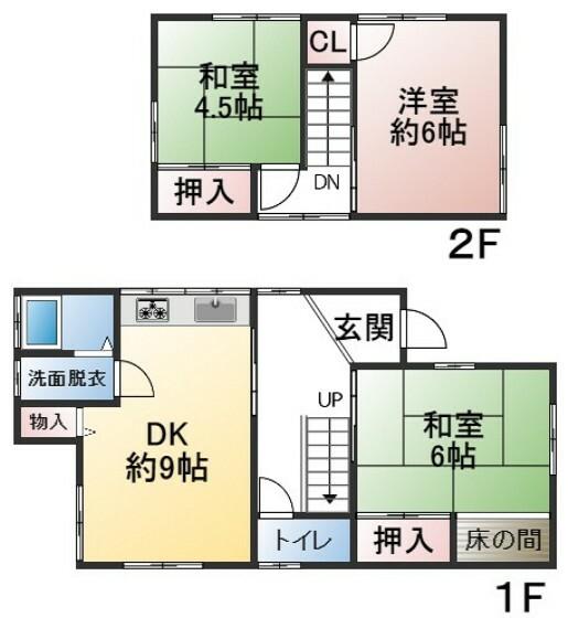 間取り図 建物面積70.39平米 土地面積104.42平米 4LDK