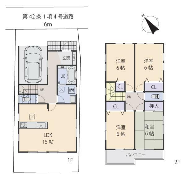 間取り図 居室4部屋の4LDKです。居室2面採光につき陽当り通風良好です。お部屋もひろく見えますよ。
