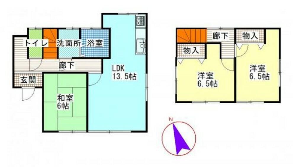 間取り図 【間取図】3LDKの住宅です。3~4人家族の方にもオススメです。1人1部屋スペースがあるのは嬉しいですよね。