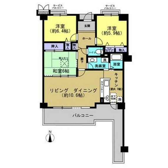 間取り図 【間取図】洋室2部屋、和室1部屋の3LDKです。キッチンはカウンターになっています。