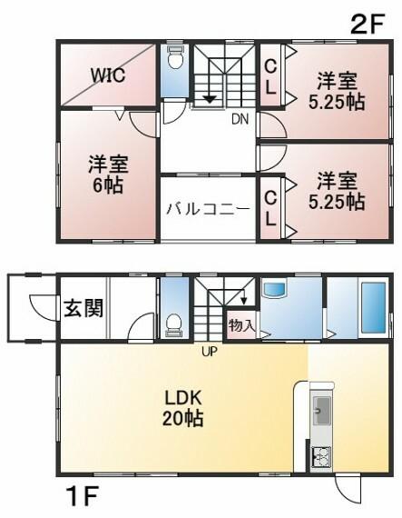 間取り図 建物面積94.39平米 土地面積124.44平米 4LDK オール電化住宅