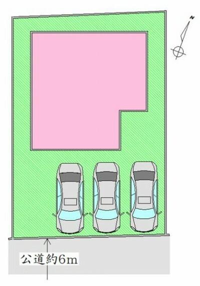 区画図 区画図 駐車場並列3台可能です