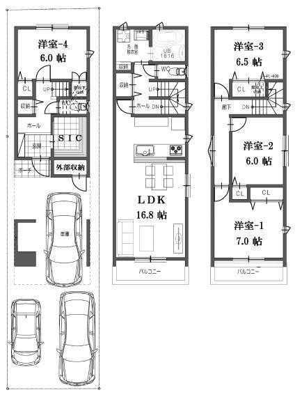 間取り図 3階建て 4LDK 建物床面積111.06平米 南面にバルコニーあり。3台駐車も可能。