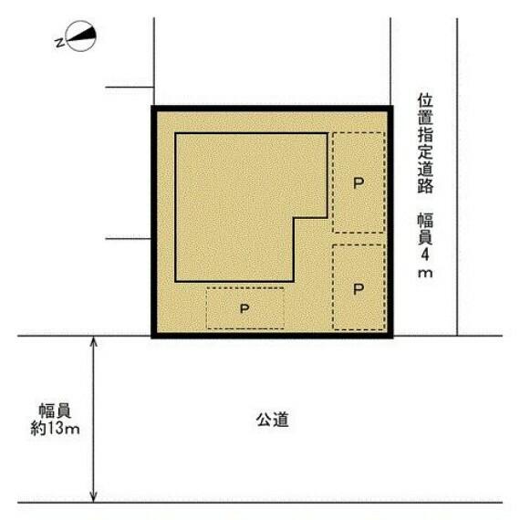 区画図 【区画図】リフォーム後の敷地と建物の配置図です。土地面積185.45平米(56坪)です。北西側に幅員約13mの公道、南東側に幅員4mの位置指定道路(持分なし)が面しております。