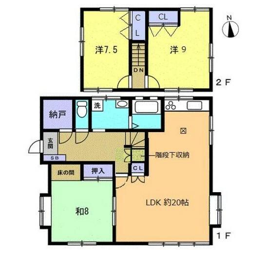 間取り図 【リフォーム予定間取図】木造スレート葺、建物面積110.13平米(33坪)3LDK、2階建ての建物です。全居室南向きなので日当たり良好です。