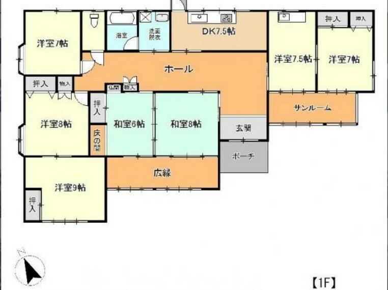 間取り図 【間取り図】現況は7DKの平屋建て住宅です。間取り変更工事を予定しています。