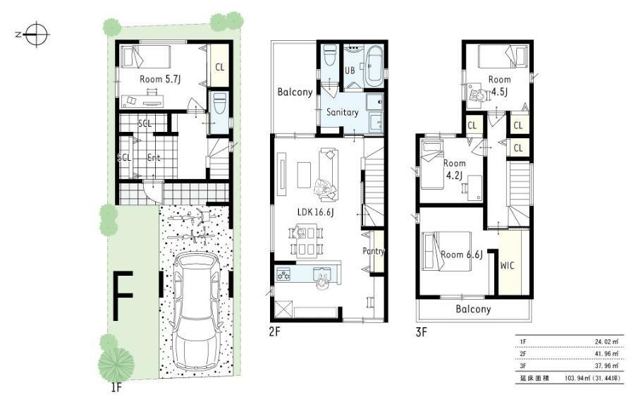 参考プラン間取り図 1号地参考プラン1■2階に洗面浴室LDKを配置することでお料理をしながら洗濯物、お子様をお風呂にいれたりなど家事動線の優れた忙しいママのためのプランです。各居室はWCLなど収納充実の4LDK。