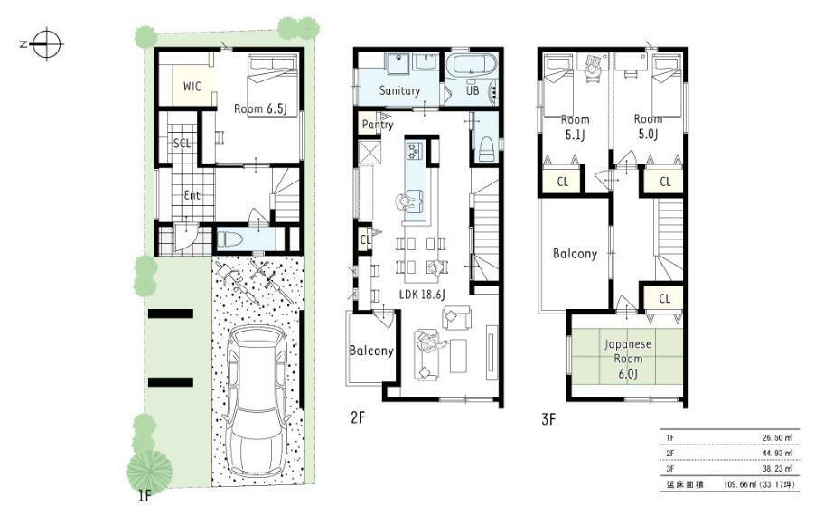 参考プラン間取り図 1号地参考プラン2■2階に洗面浴室・LDKをまとめることで、1階のお部屋を大きく、収納も充実させ、2世帯にも対応しやすいプランです。また、3階の洋室はお子様の成長に合わせ将来間仕切りが可能です!