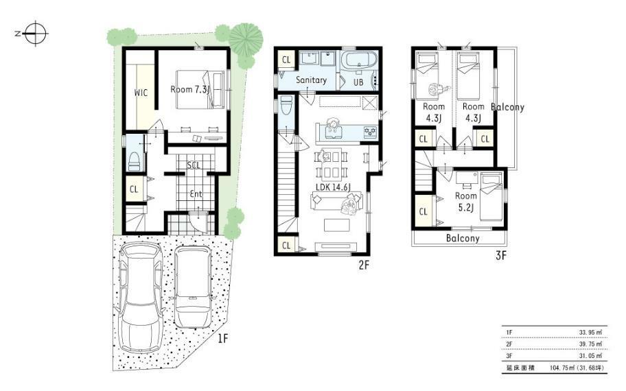 参考プラン間取り図 2号地参考プラン■浴室洗面が2階LDKにあるお家は、駐車2台を可能にし、子育てに仕事、休日の遊びも充実させたいご家族におススメのプランです!