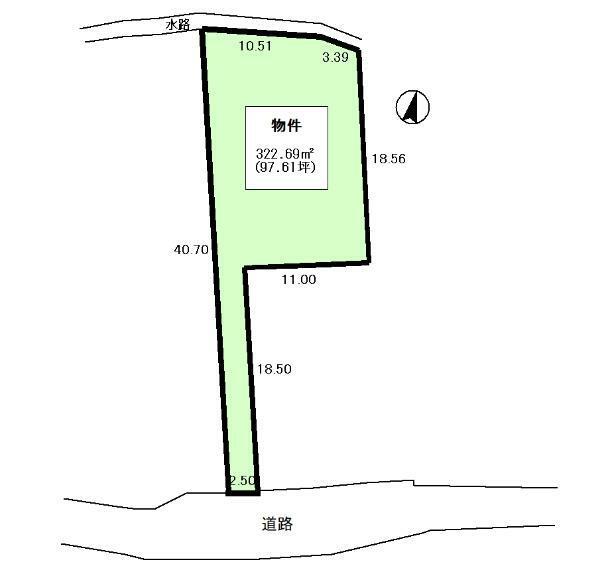 土地図面 土地図面 公簿:322.69平米(97.61坪)