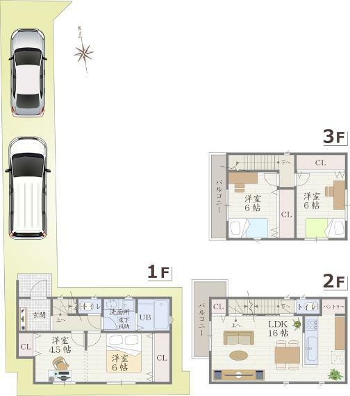間取り図 将来、二間に分けることを想定した1階洋室をご用意。