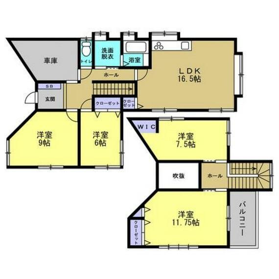 間取り図 【リフォーム中】4LDKのゆったりした間取りに作り換えます。各居室が6帖以上のゆったりした広さなので、快適にお過ごしいただけます。