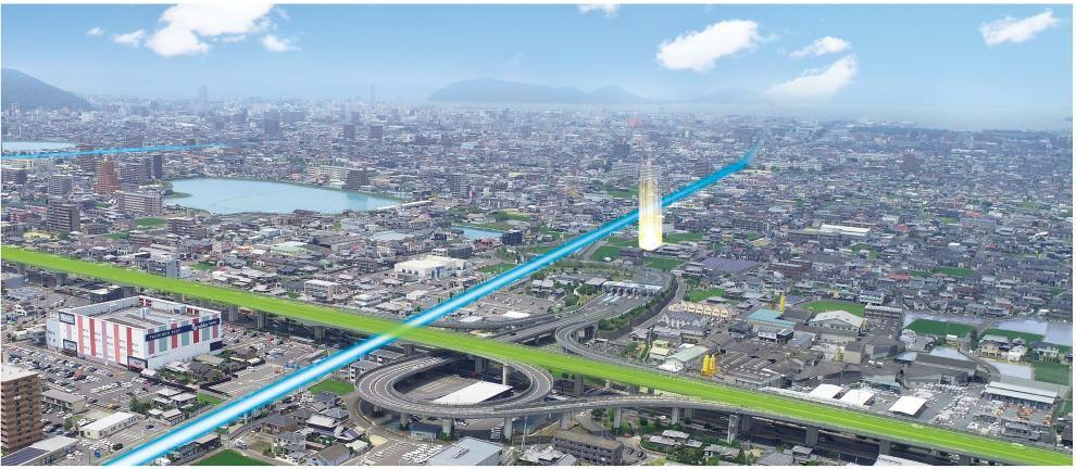 完成予想図(外観) 空撮 ※掲載の航空写真は、2020年4月に撮影したものです。一部CG合成をしています。