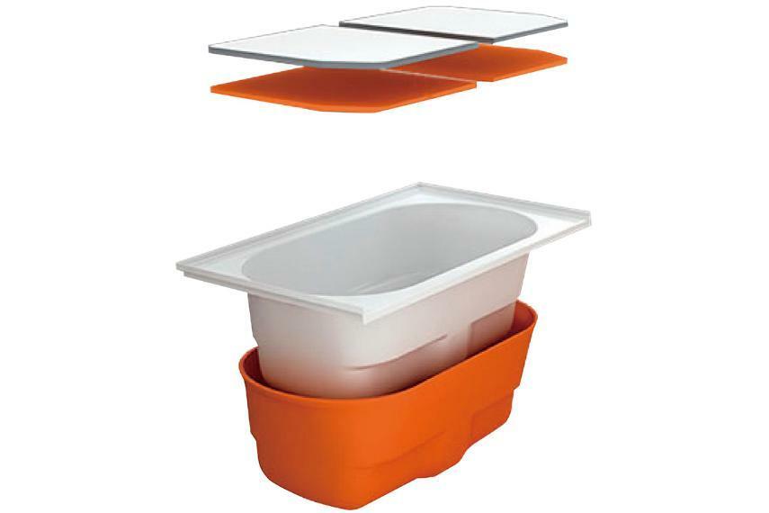 サーモバスS  浴槽保温材と保温組フタのダブル保温構造でお湯が冷めにくく、光熱費の節約が期待できます。