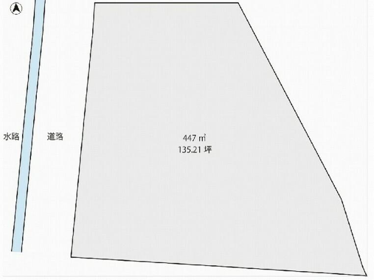 区画図 土地面積:447平米(135.21坪)