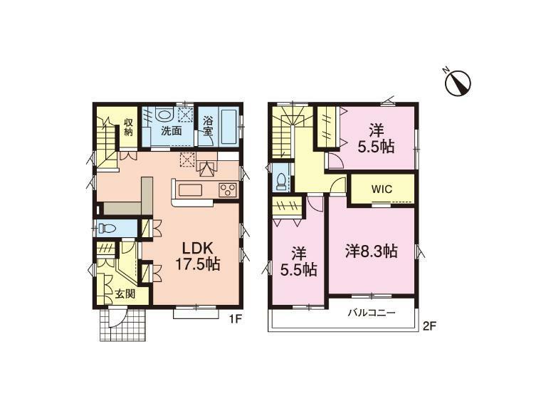 間取り図 1号棟間取図:3LDK※LDKに書斎スペース、約3帖の洗面室、寝室にWIC