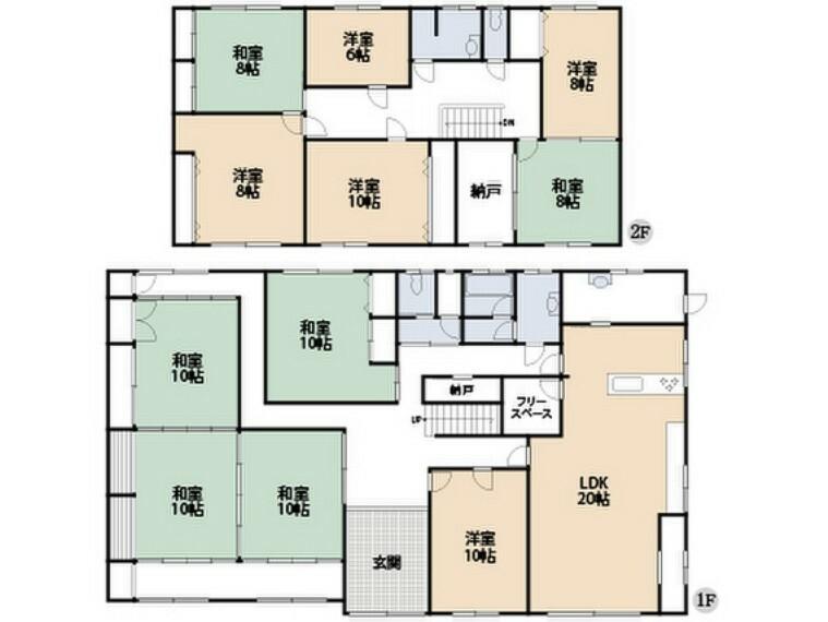 間取り図 全居室6帖以上の11LDK。大家族でもゆったりと暮らせます。